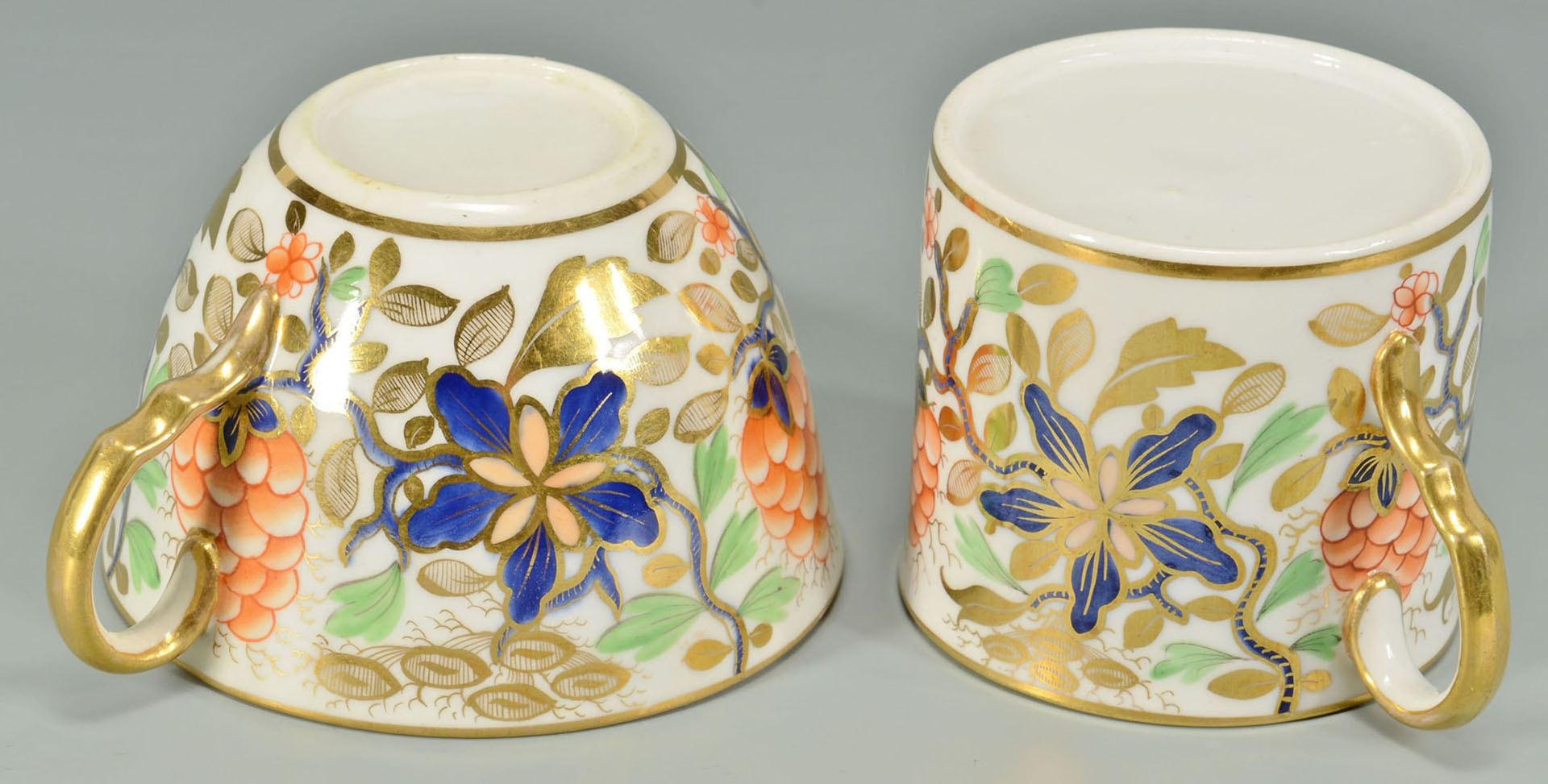 Lot 241: 27 pcs English Imari cups, saucers, poss. Worceste