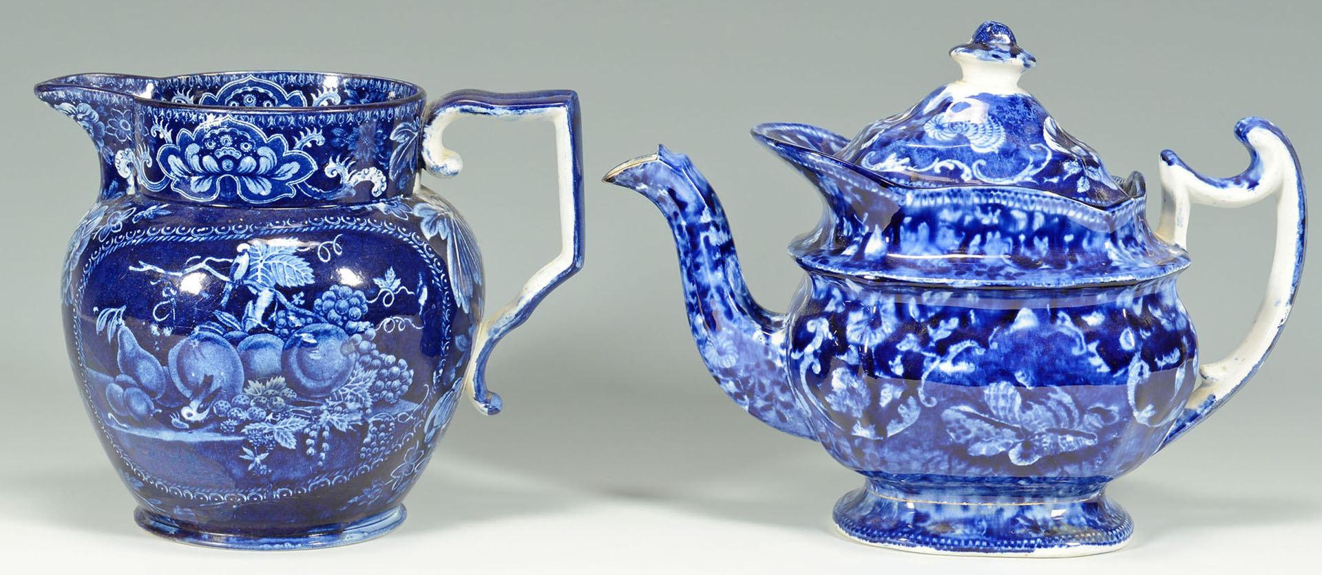 Lot 242: 10 pcs Staffordshire Blue and White Porcelain