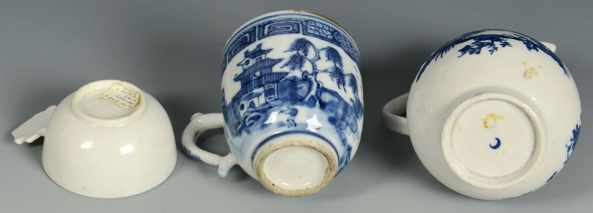 Lot 243: 3 Small Blue and White dishes, prob. Worcester or