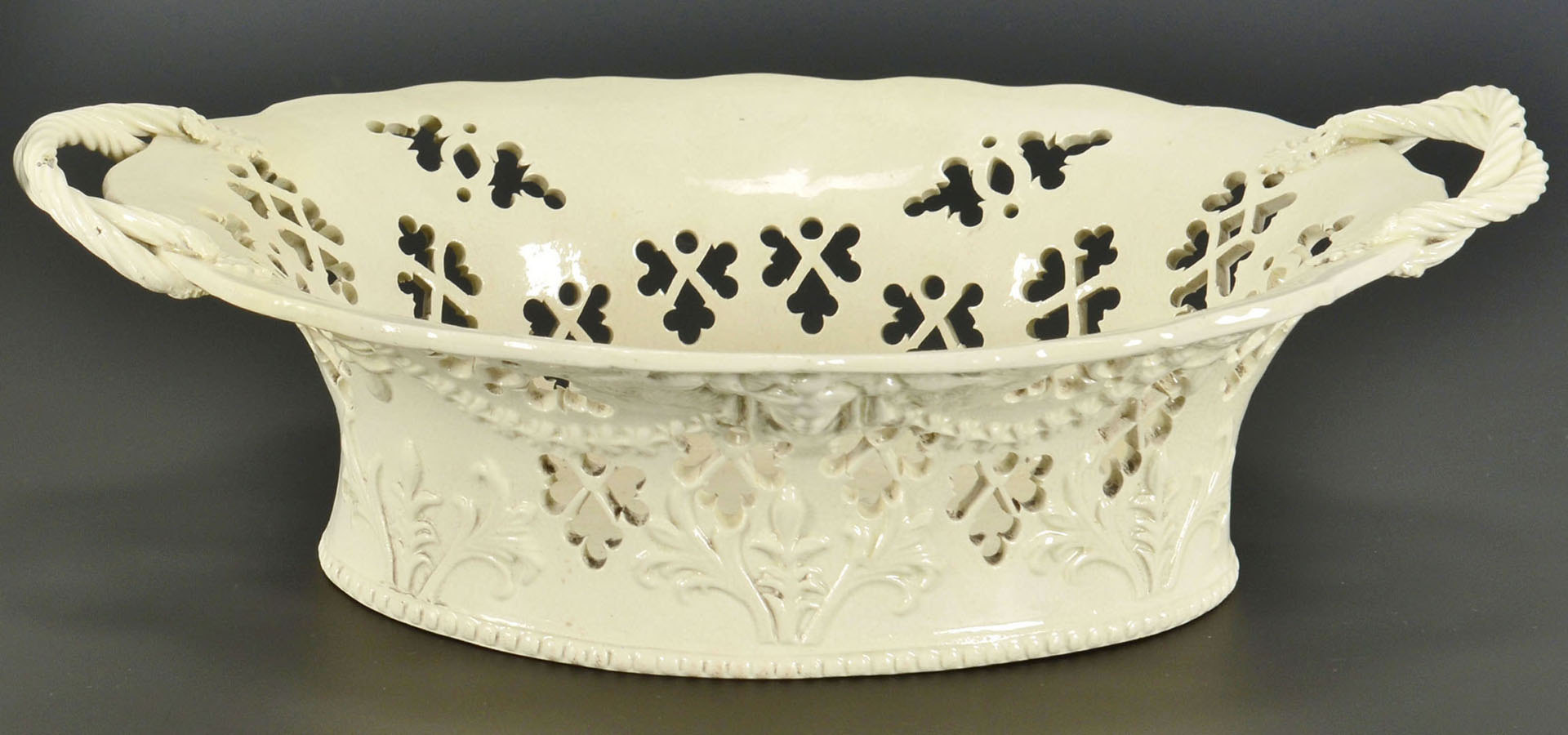 Lot 244: Molded creamware basket and plate