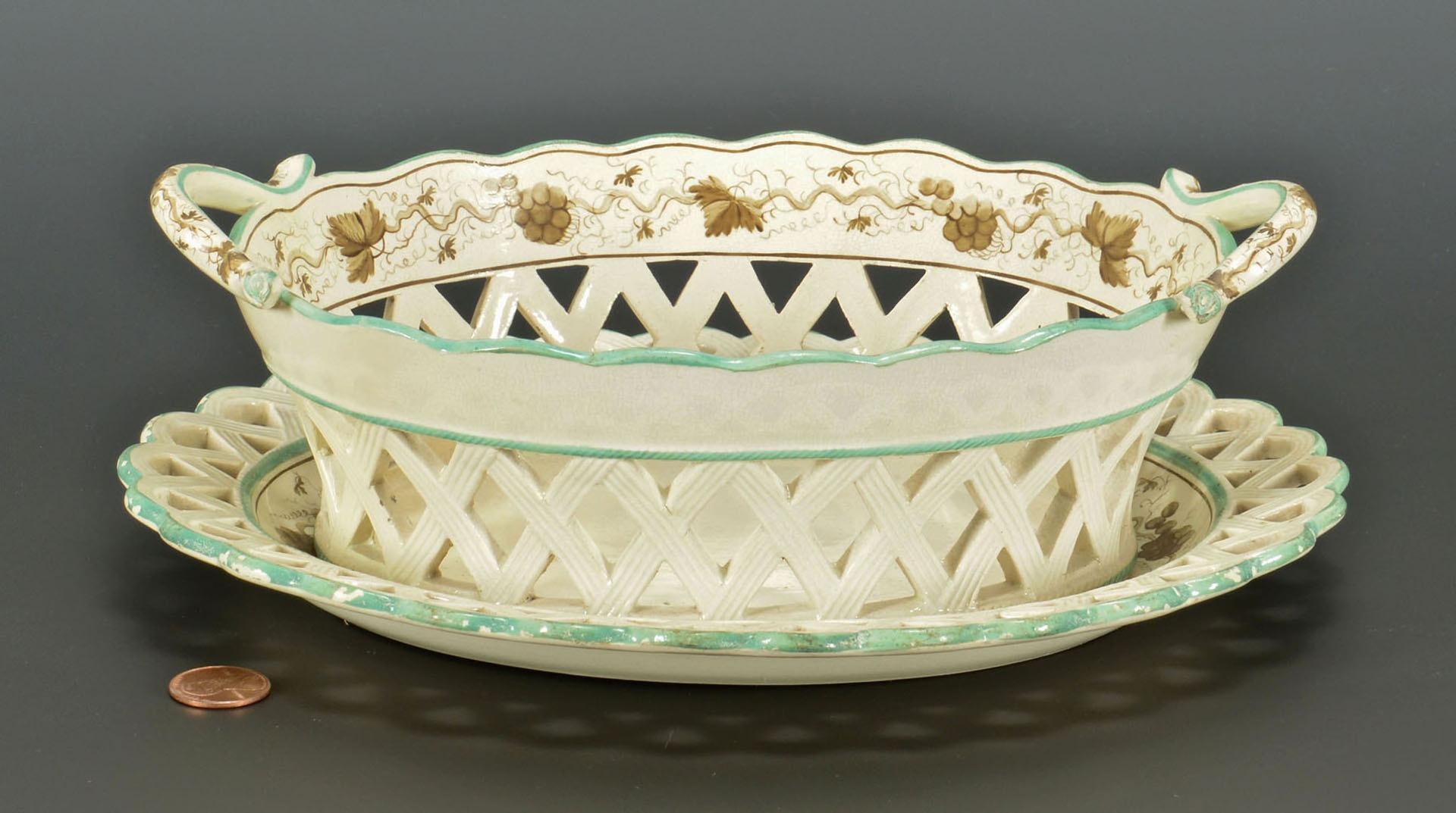 Lot 245: Creamware basket, underplate with grapevine dec