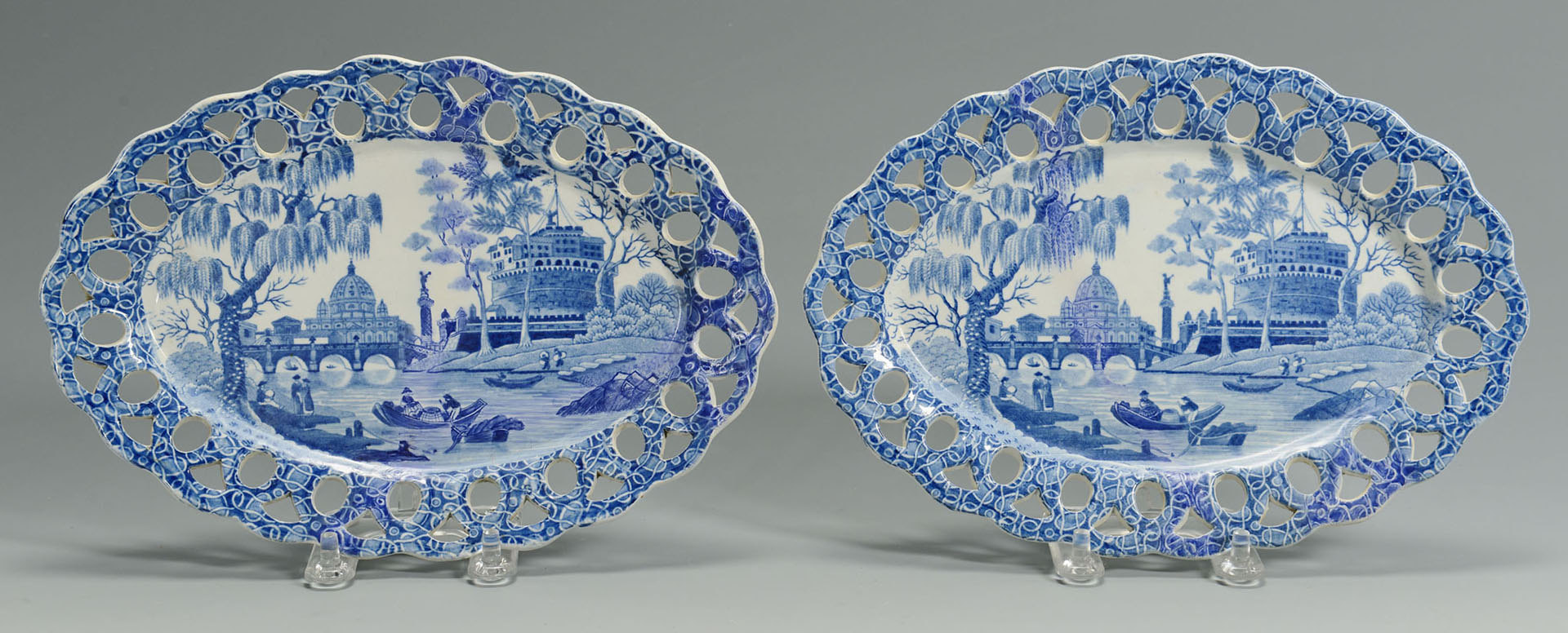 Lot 246: Pair Spode Blue and White Chestnut baskets, underp