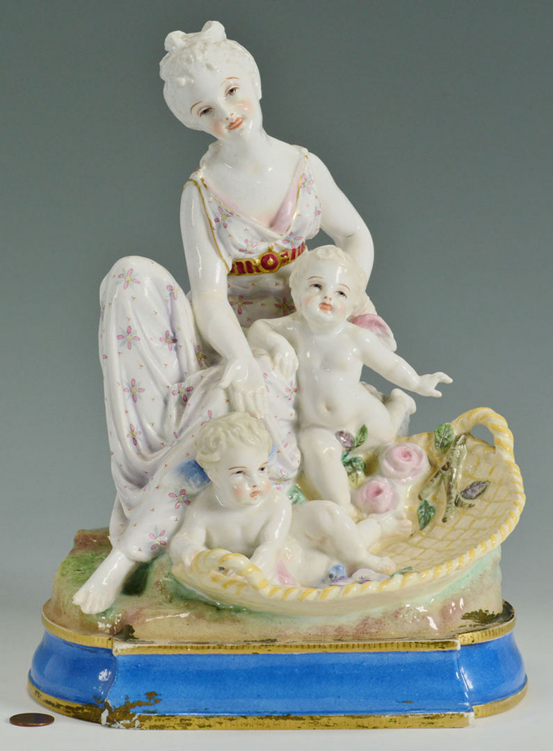 Lot 248: Continental Porcelain Grouping of Women w/ Childr