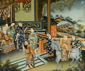 Lot 24: Chinese Palace Scene Reverse Painting on Glass