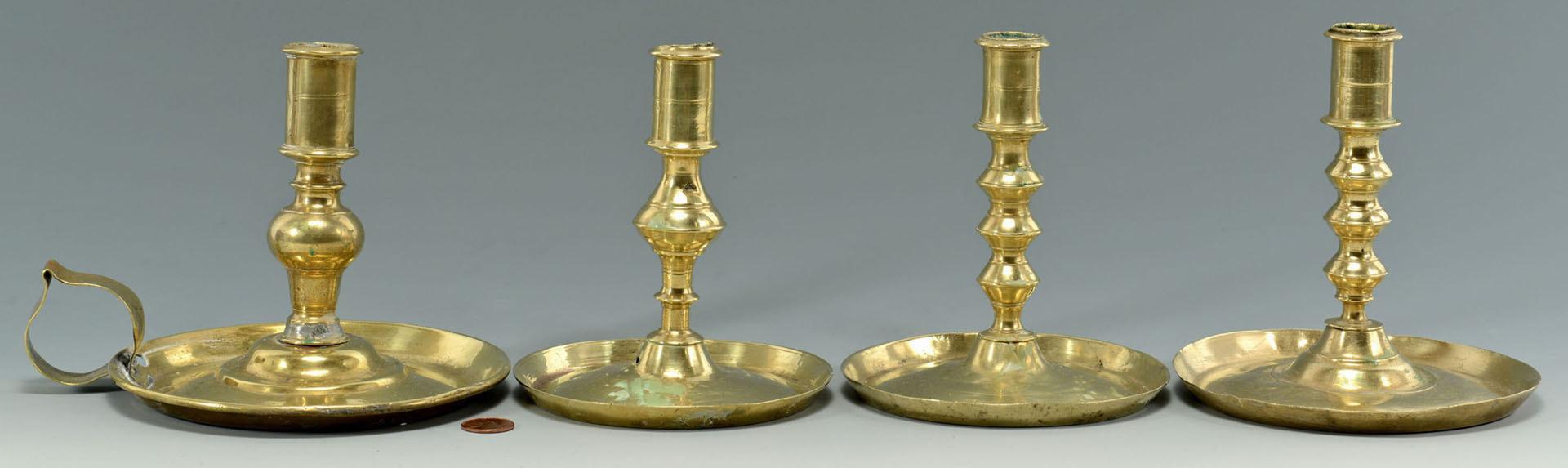 Lot 254: 3 Brass Candlesticks and 1 Chamberstick