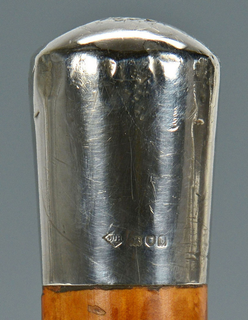 Lot 265: Toledo Sword Cane w/ Marked English Silver Top