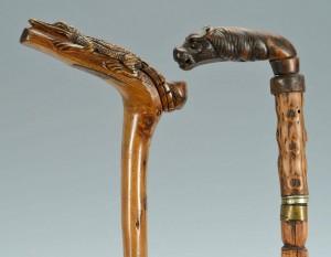 Lot 267: 2 Folk Art Canes, Alligator & Dog/Griffin