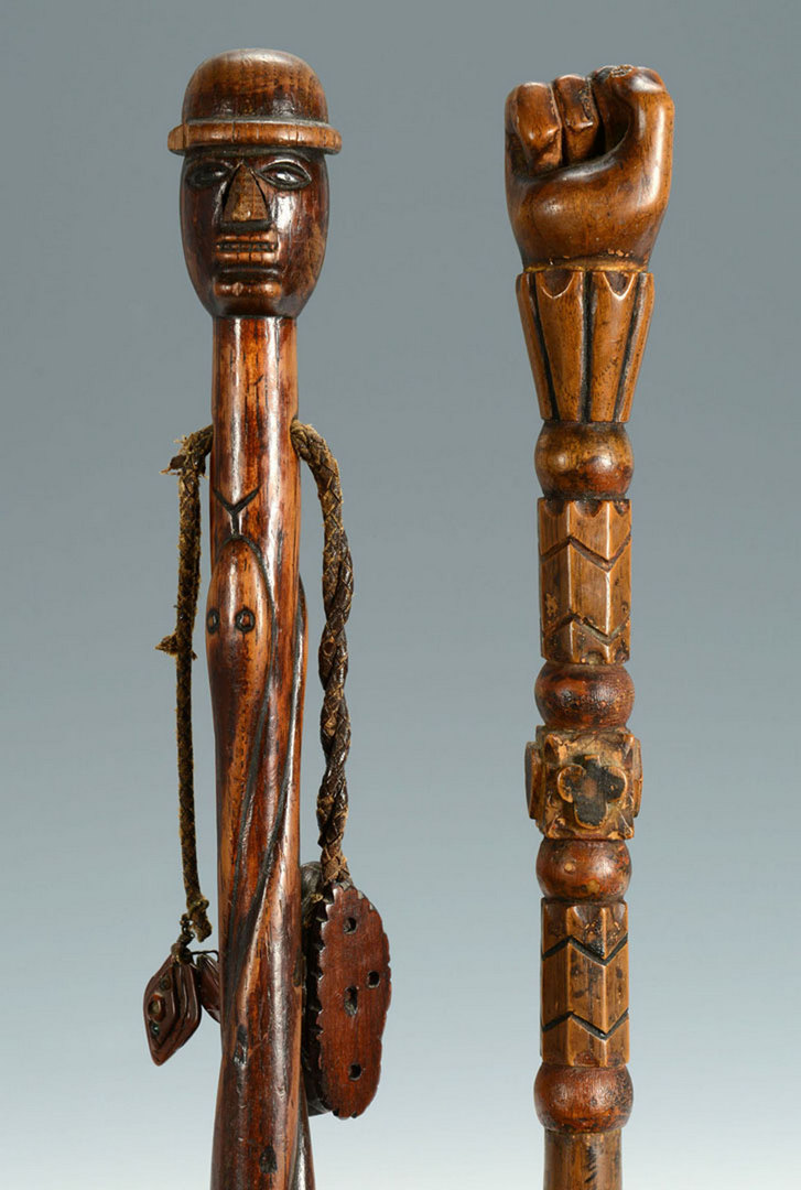 Lot 268: 2 Folk Art Carved Figural Canes, poss. Native Amer