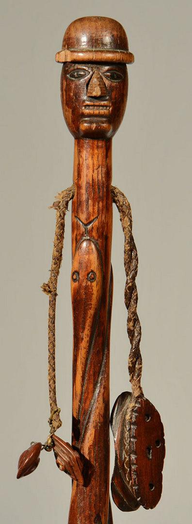 Lot 268: 2 Folk Art Carved Figural Canes, poss. Native Amer