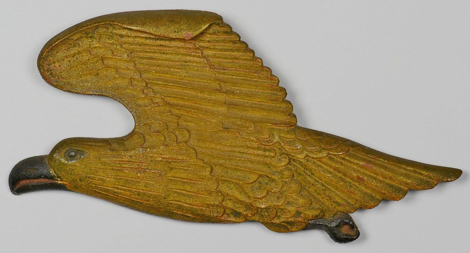 Lot 269: Folk Art Carved Wooden Eagle, Polychrome Paint