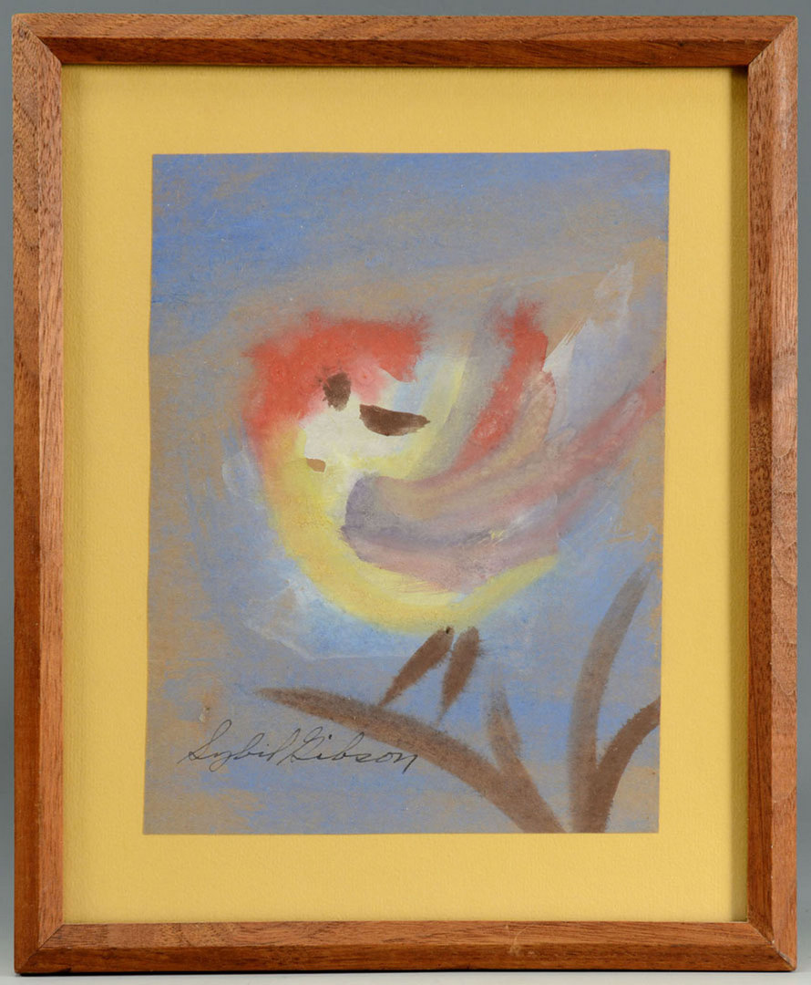 Lot 271: Sibyl Gibson, outsider art painting of a bird