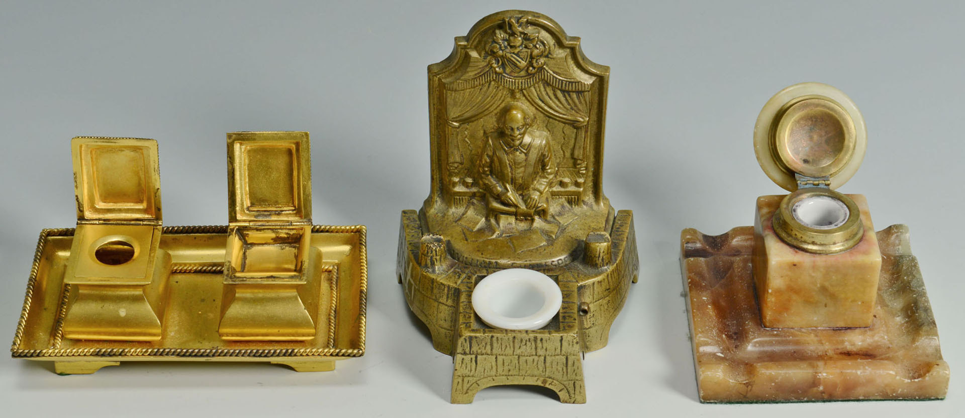 Lot 274: Grouping of 14 Desk Top Articles, Many Bronze