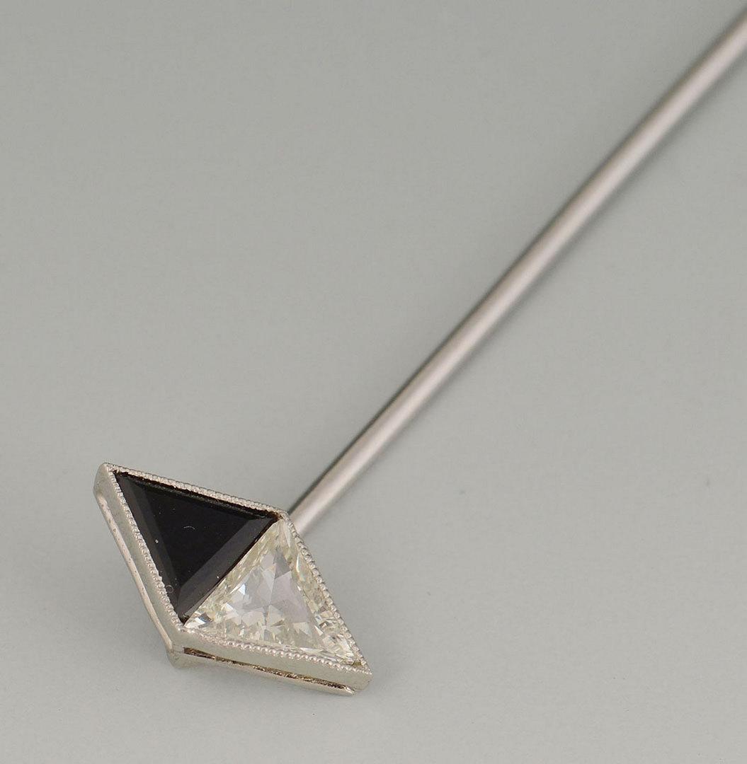 Lot 289: Art Deco Platinum Diamond & Onyx Stick Pin