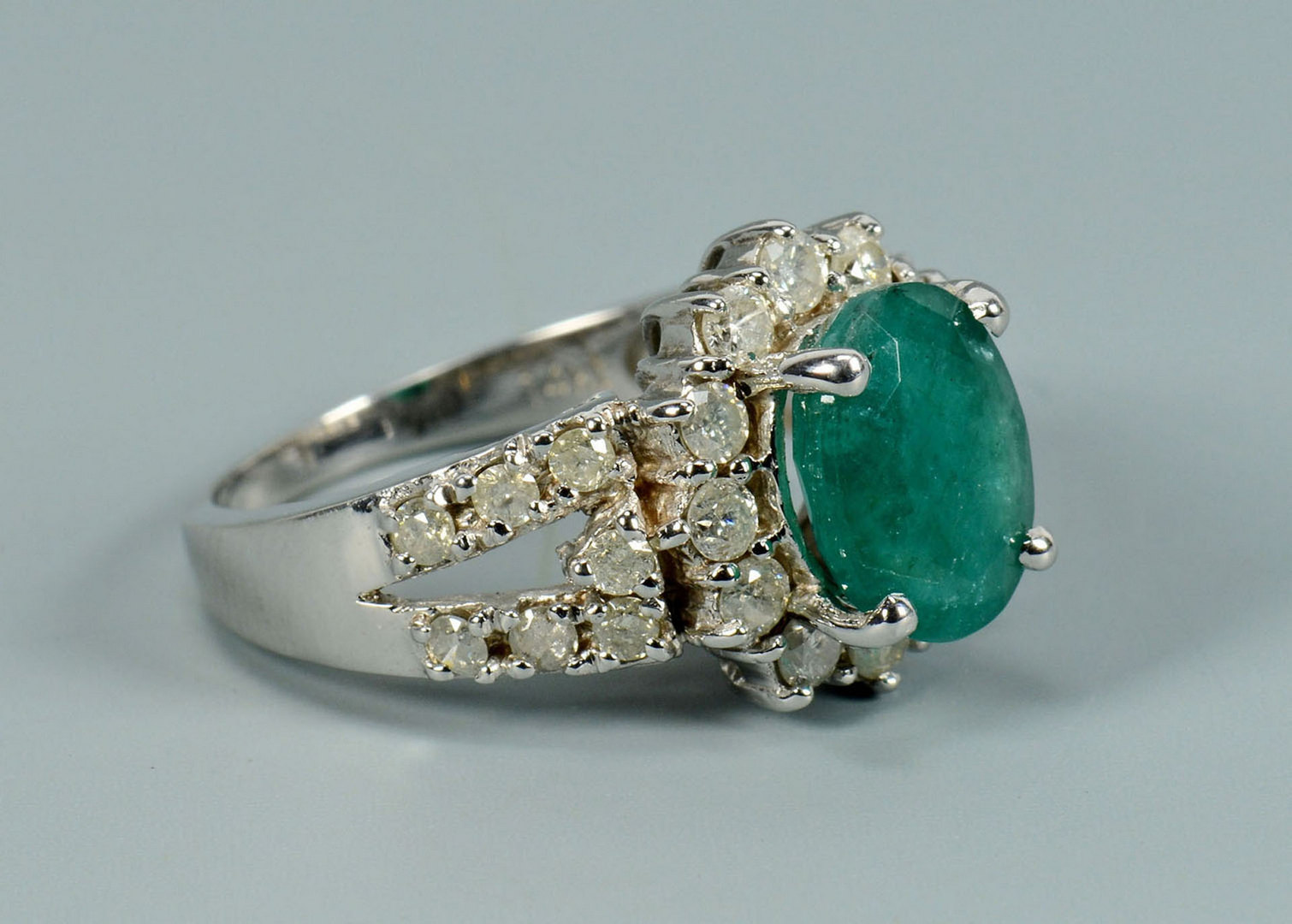 Lot 295: 14k Emerald and Diamond Ring