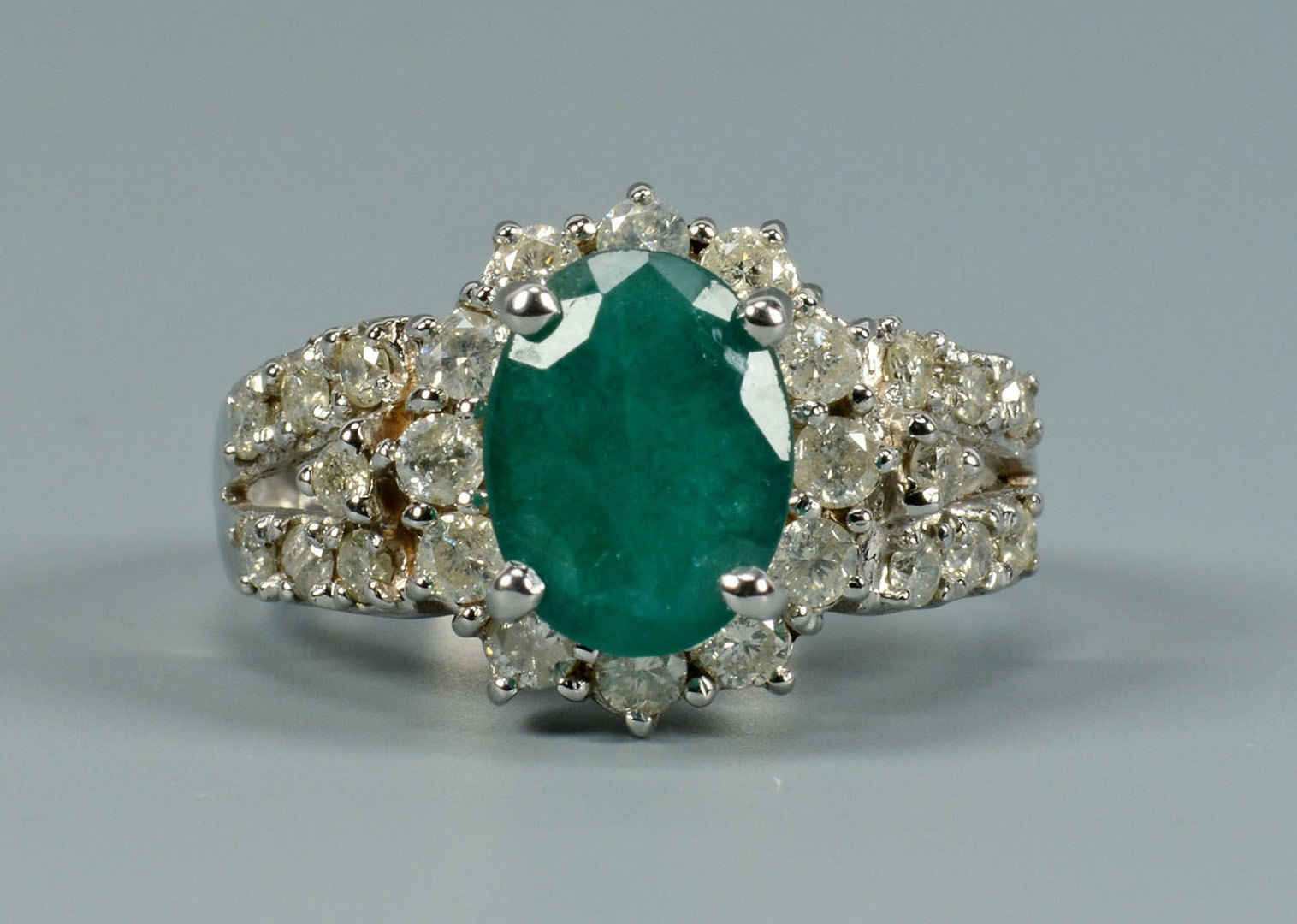 Lot 295: 14k Emerald and Diamond Ring