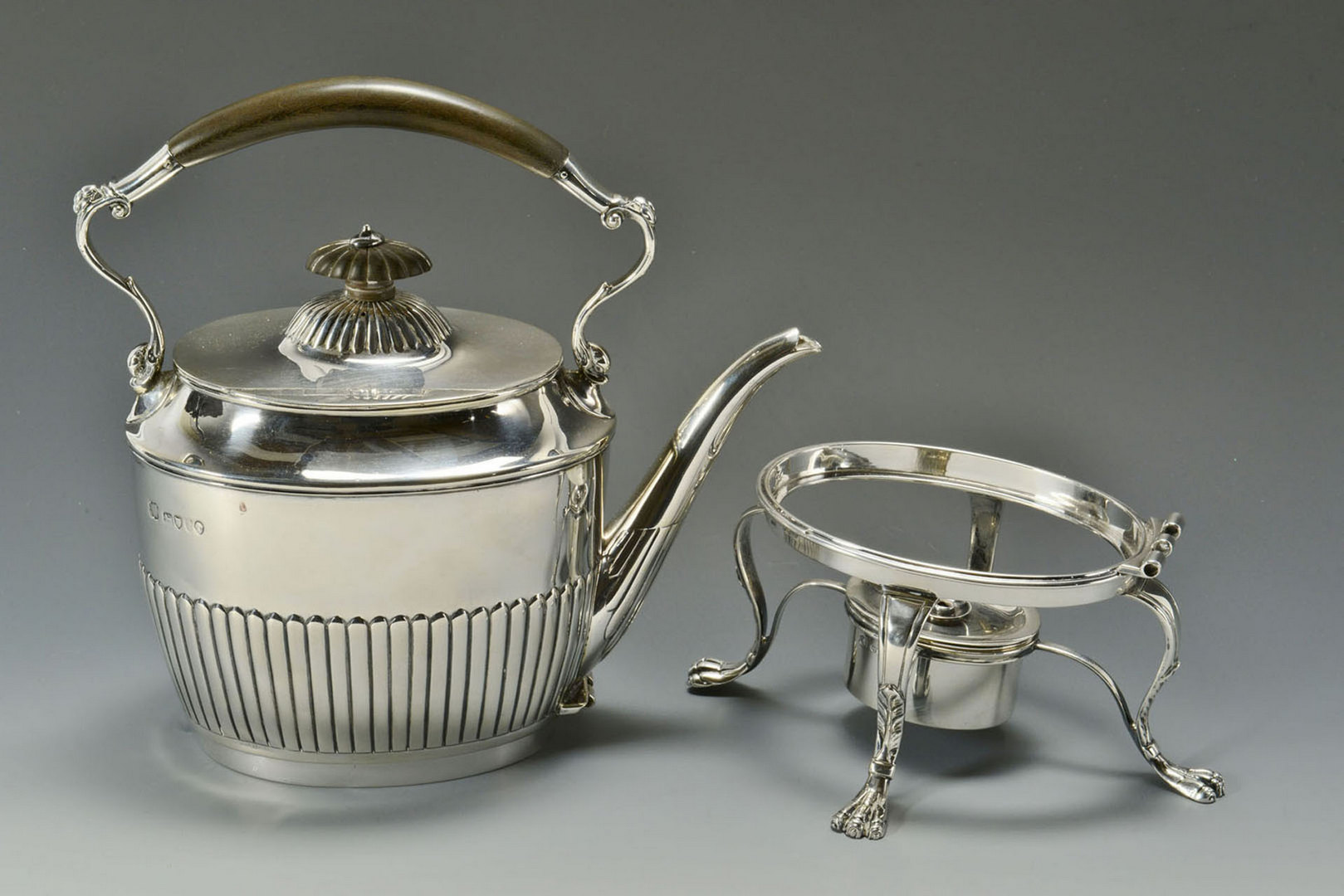 Lot 298: Victorian Sterling Kettle on Stand