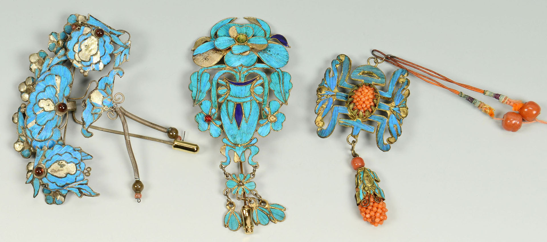 Lot 2: 3 Chinese Kingfisher Ornaments