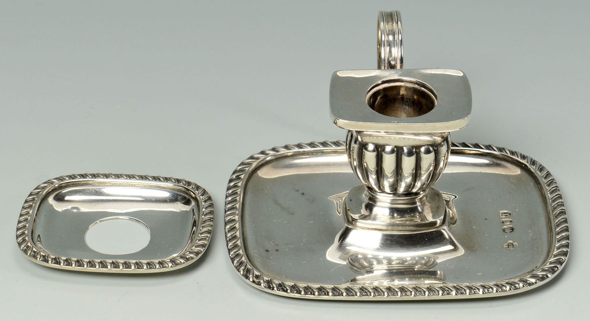 Lot 301: George III Sterling Candle Snuffer & Chamberstick
