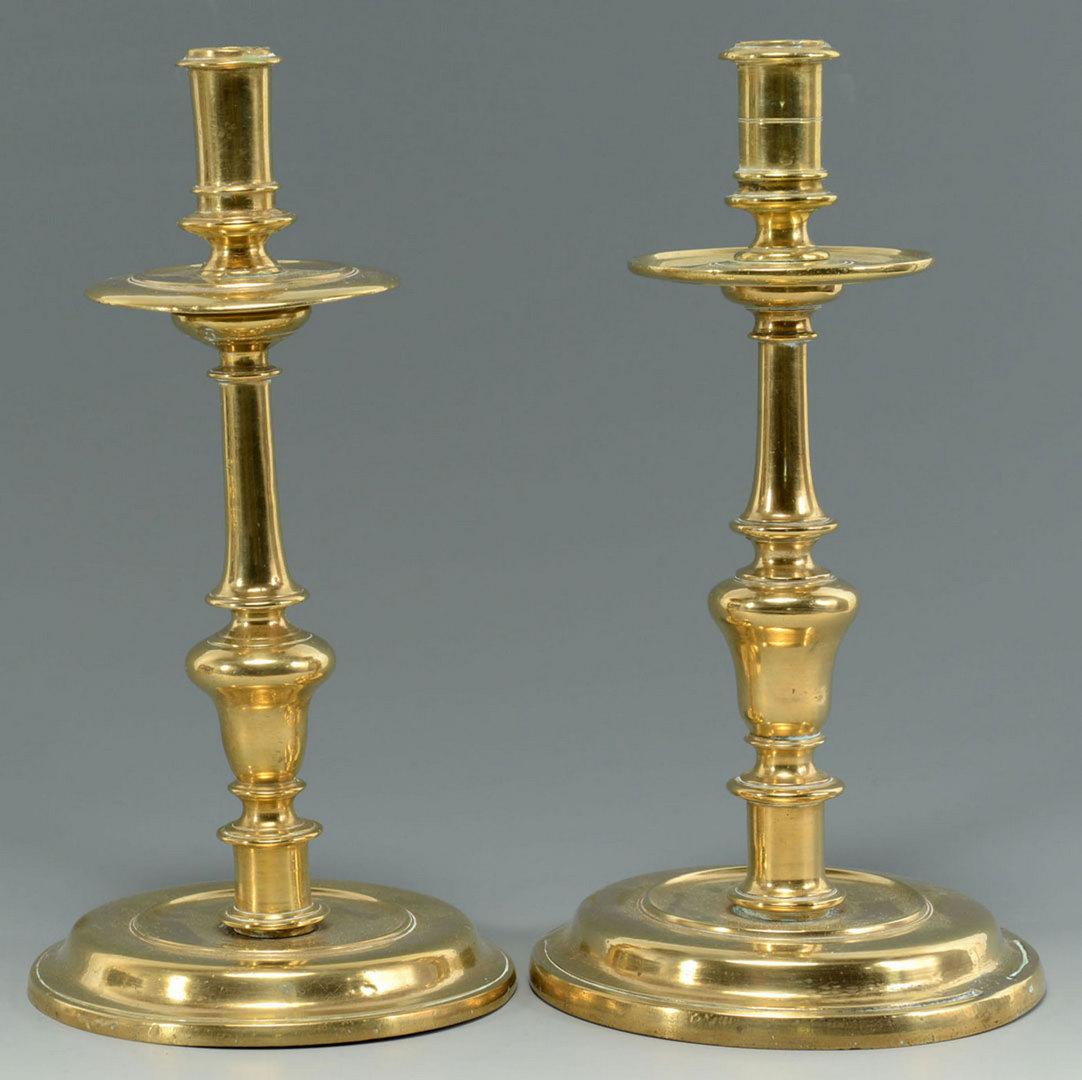Lot 30: Four 17th c. English or Dutch Brass Candlesticks