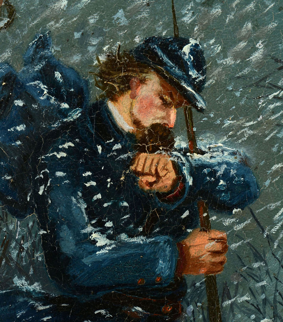 Lot 319: Oil on Board of a Civil War Era Soldier, dated 186