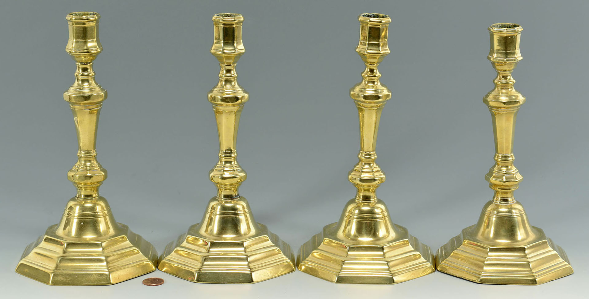 Lot 31: Two Pair 18th c. Brass Candlesticks