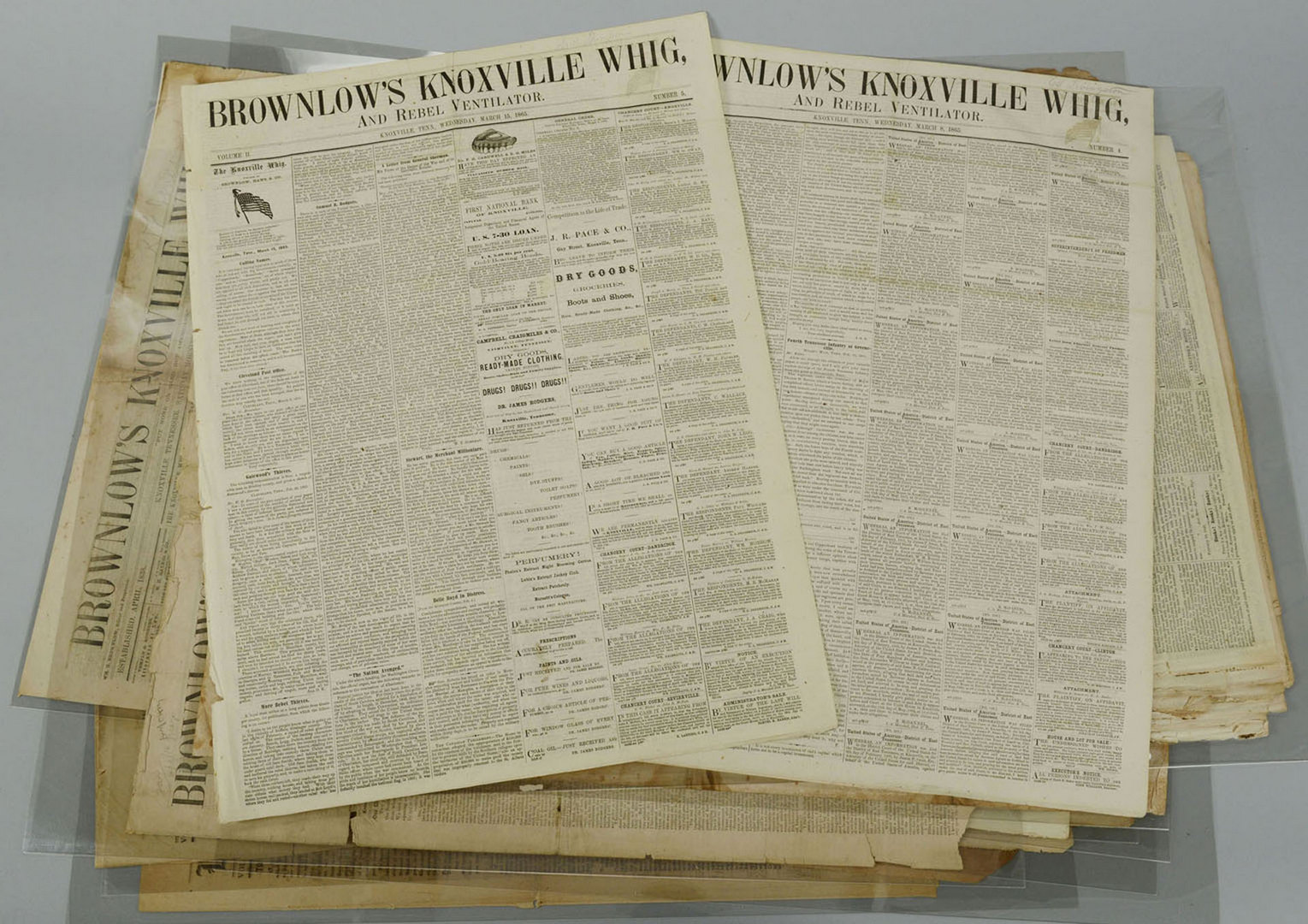 Lot 323: Group of Knoxville Whig Newspapers & 4 other