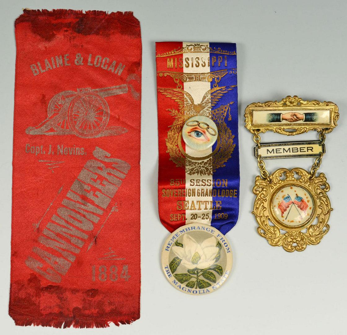 Lot 325: Political and Masonic ribbons