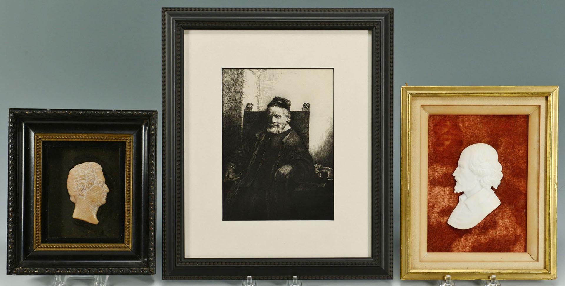 Lot 333: 2 Portrait Plaques and 1 Etching after Rembrandt