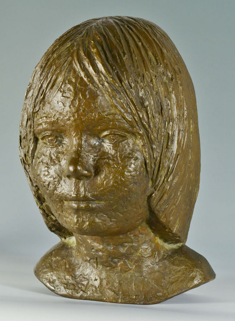 Lot 335: 20th Century German Bronze Bust of Girl