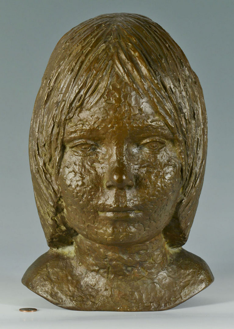 Lot 335: 20th Century German Bronze Bust of Girl