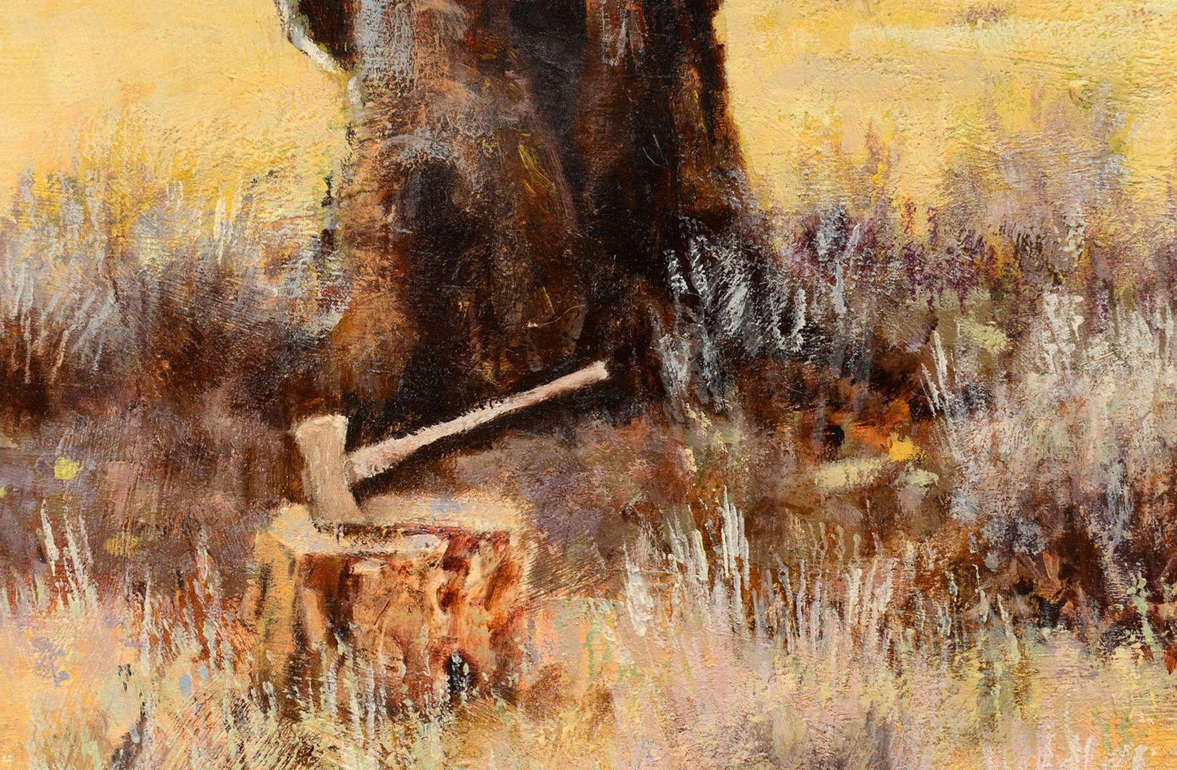 Lot 342: Large Oil on Board Ranch Scene, Bill Bender