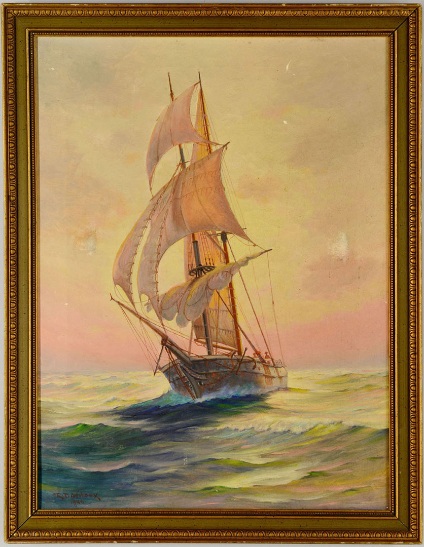 Lot 344: Ruth Dawes Wilcox Oil on Canvas – Ship at Sea