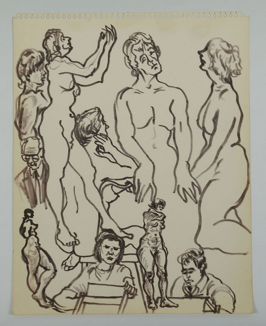 Lot 349: Joseph Delaney, 3 Ink Drawings (nudes and figure s