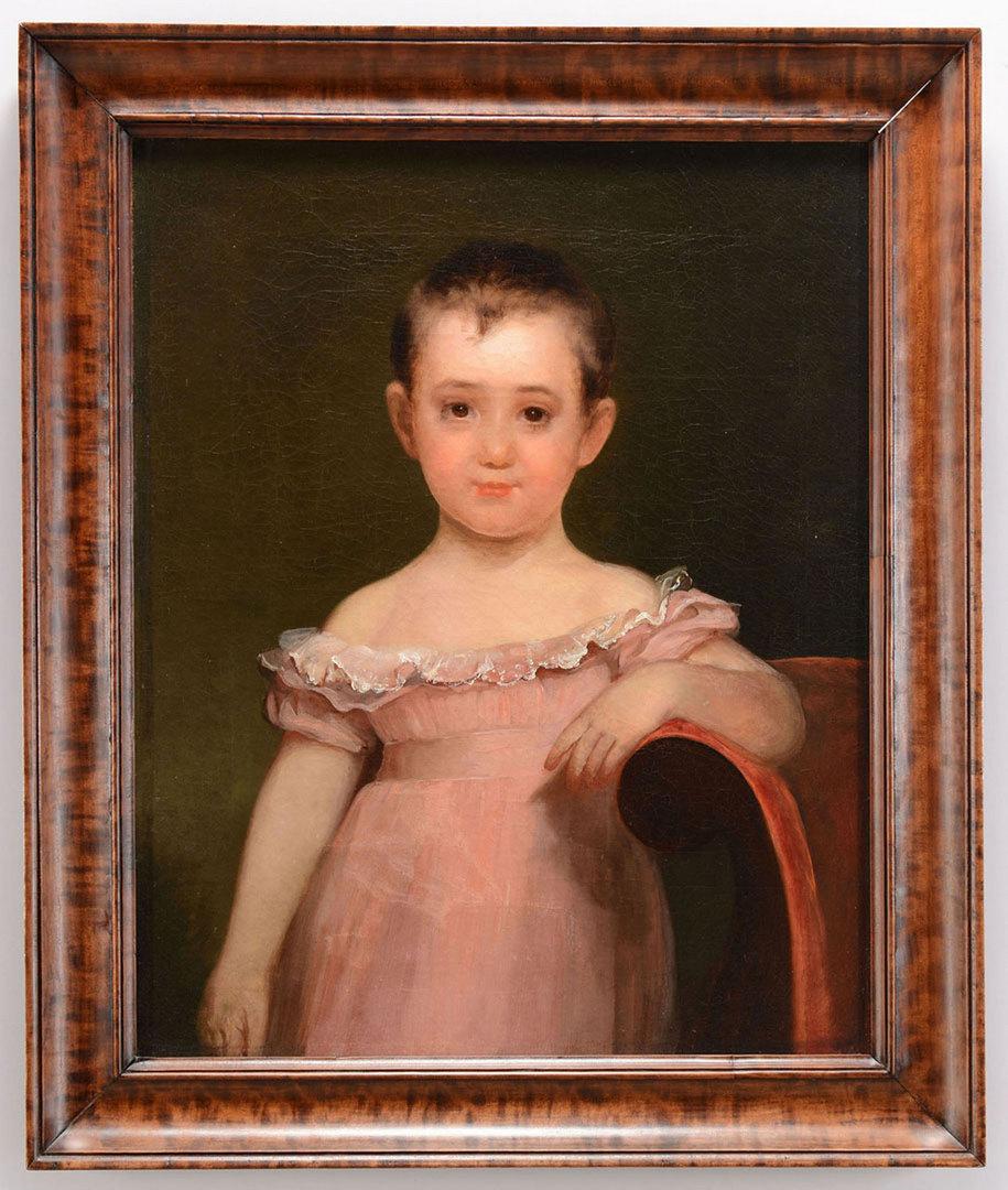 Lot 34: American School, Portrait of a child in pink dress