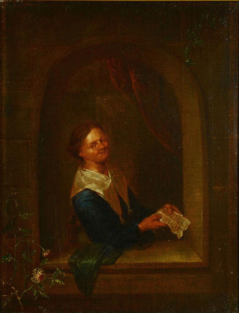 Lot 356: Manner of Gerrit Dou, O/B, Woman in Window