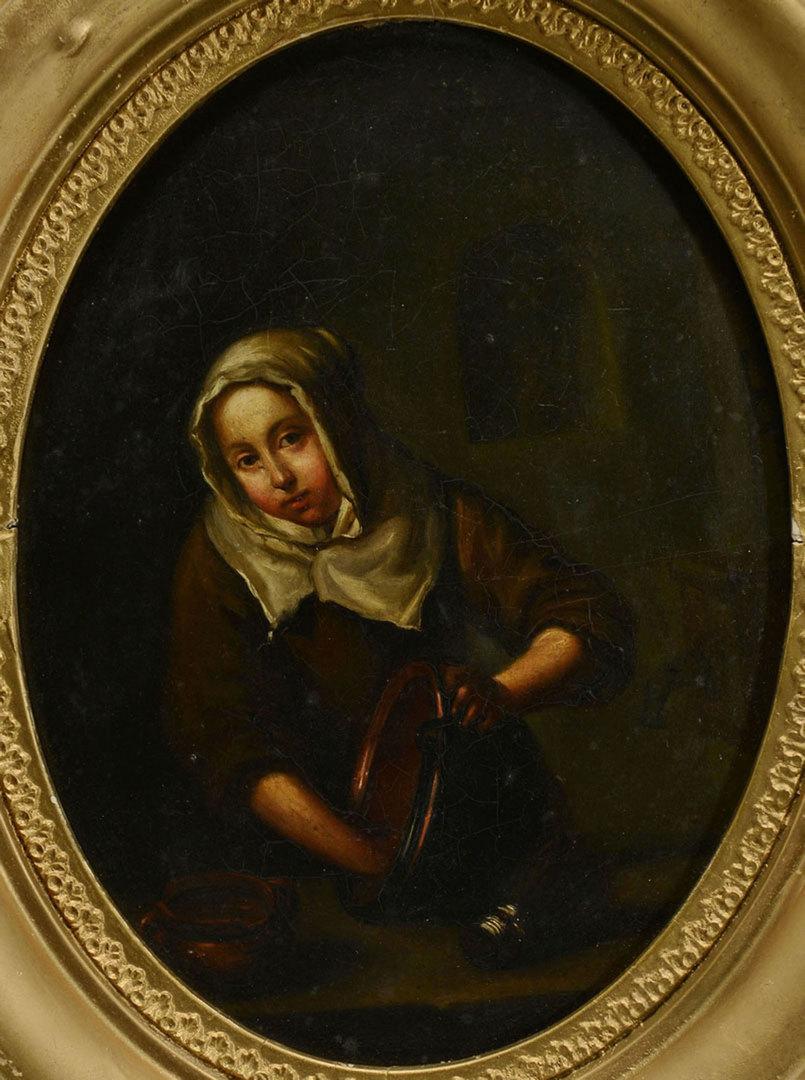 Lot 357: Manner of Gerrit Dou, O/B, Woman Washing