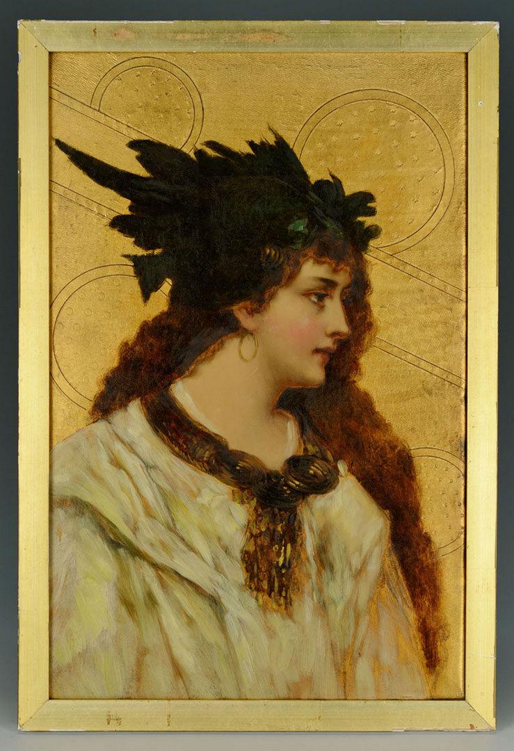 Lot 35: Aesthetic Movement Oil on Canvas Female Portrait