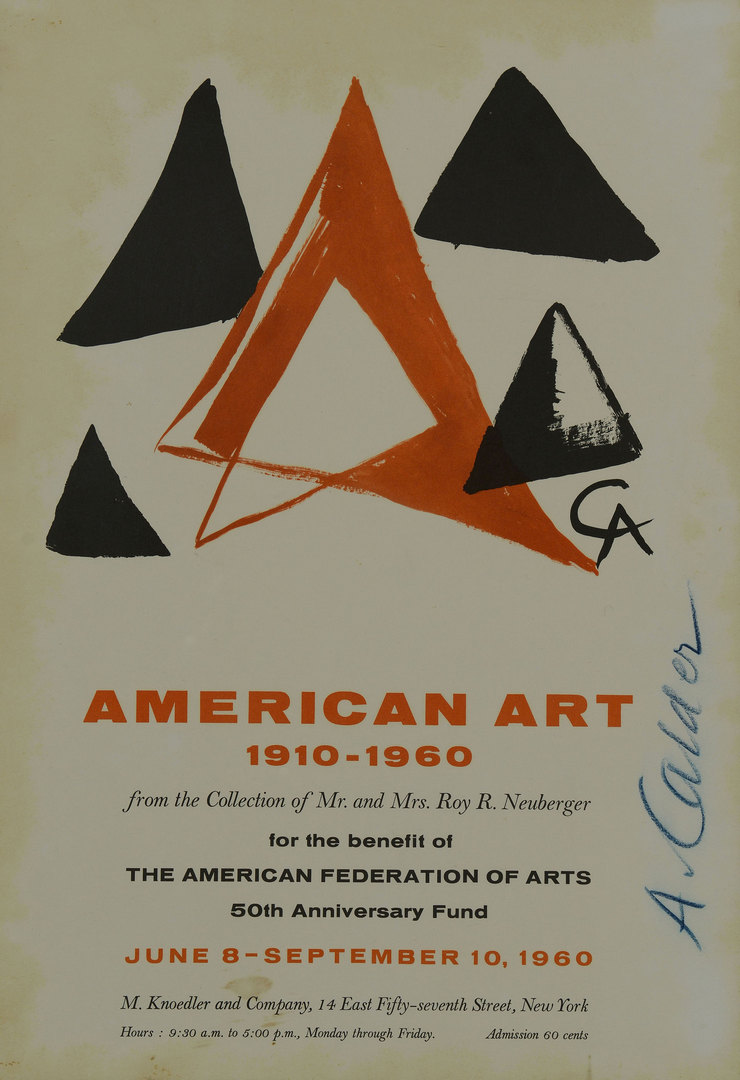 Lot 364: Calder Signed Art Exhibition Poster from 1960