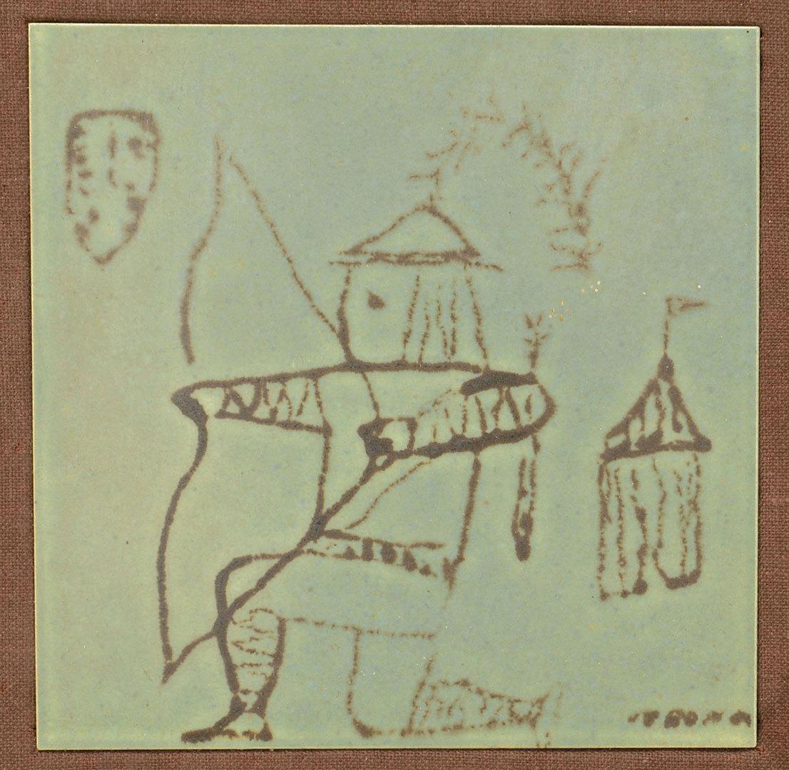 Lot 374: 3 Framed Harris Strong Art Pottery Tiles
