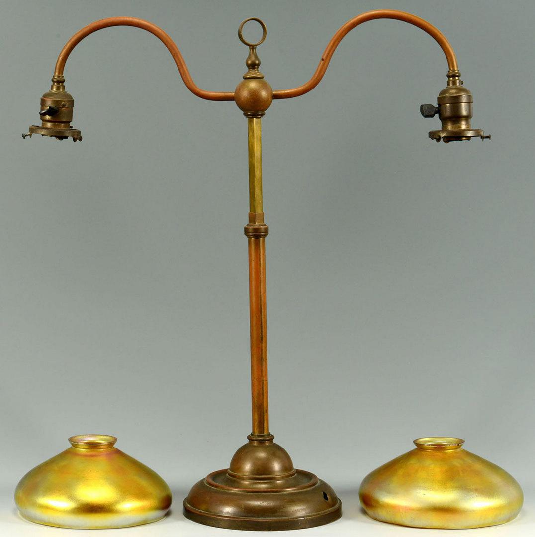 Lot 381: Lamp w/ Aurene Art Glass Shades, poss. Steuben