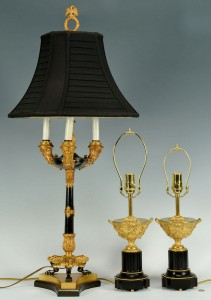 Lot 383: Grouping of 3 Gilt & Onyx Table Lamps