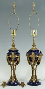 Lot 384: Pr. Blue Classical Lamps w/Ormolu Ram Head Fitting