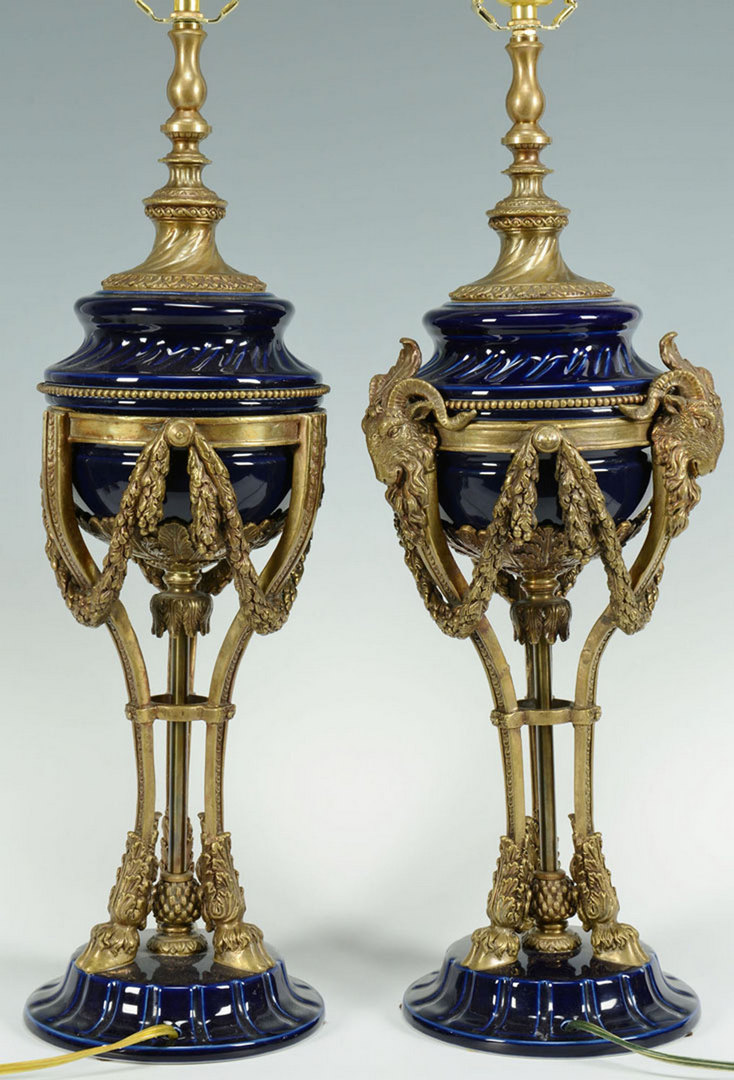 Lot 384: Pr. Blue Classical Lamps w/Ormolu Ram Head Fitting