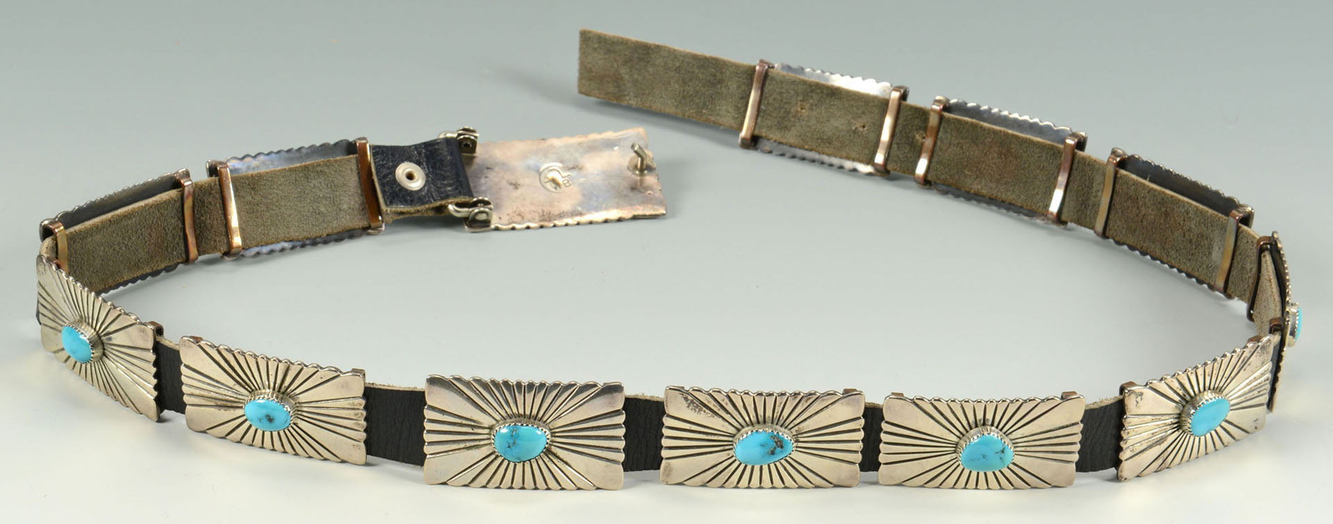 Lot 386: Navajo Silver and Turquoise Concho Belt