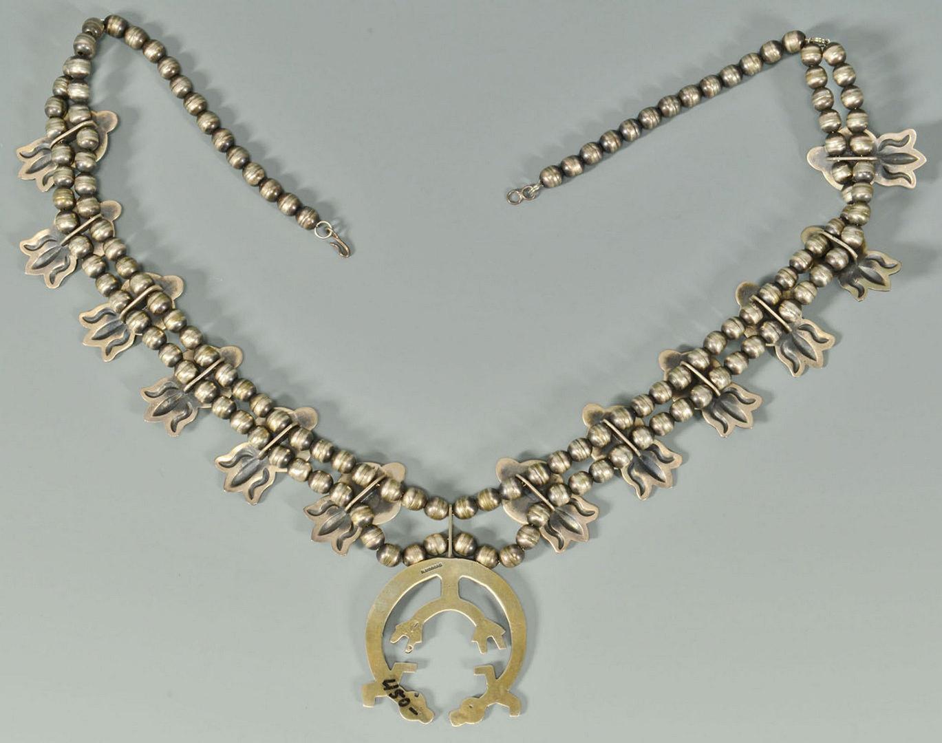 Lot 387: Navajo Squash Blossom necklace, H. Morgan