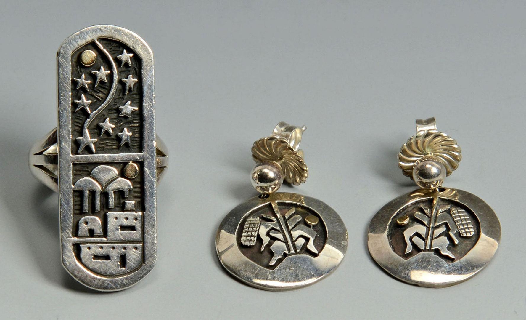Lot 389: Coriz S. Domingo Silver Necklace, earrings, ring