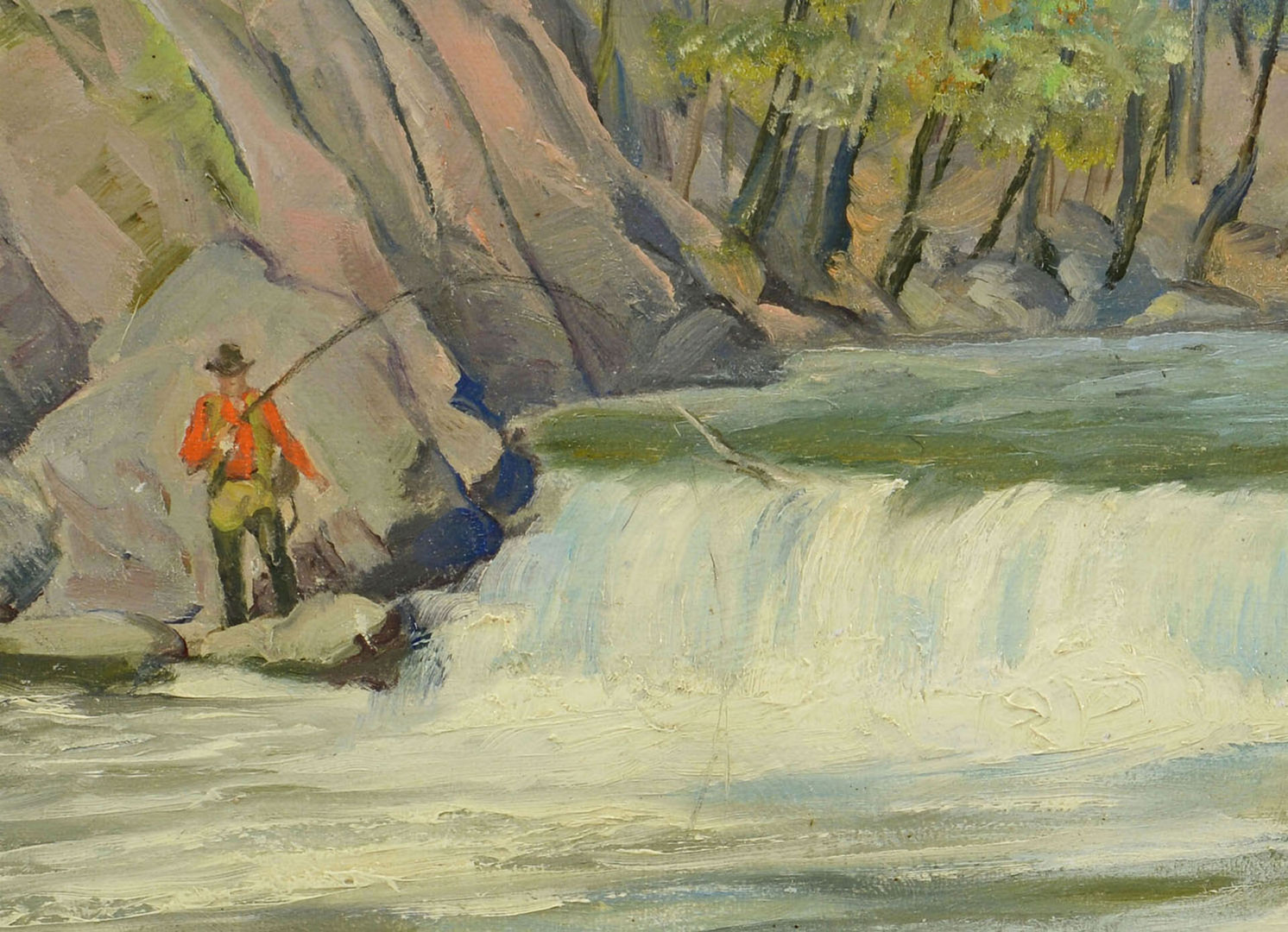 Lot 38: Harold K. Welch oil on board, Fly Fishing