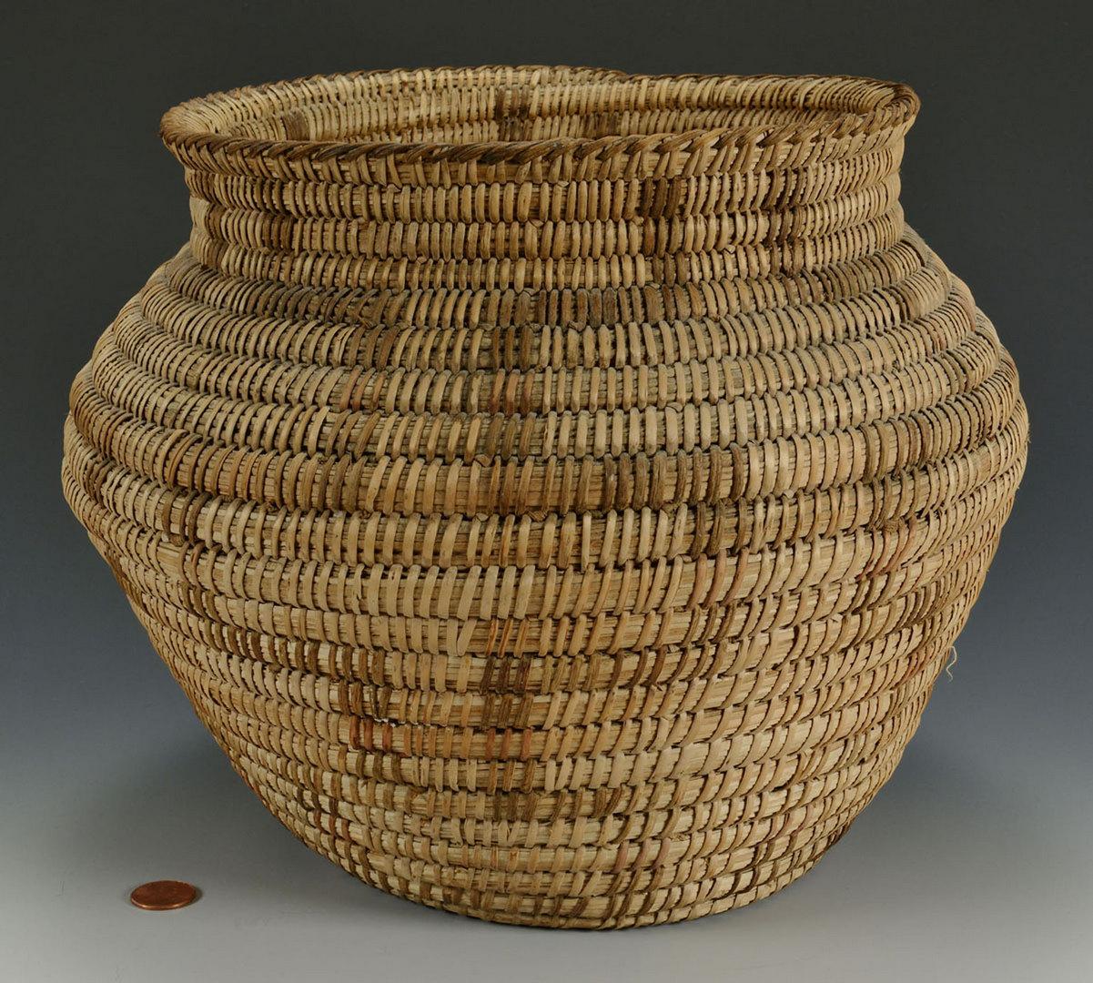 Lot 392: Native American Pima Basket, Olla Form
