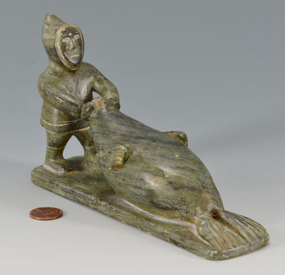 Lot 396: Signed Inuit Sculpture: Eskimo harvesting seal