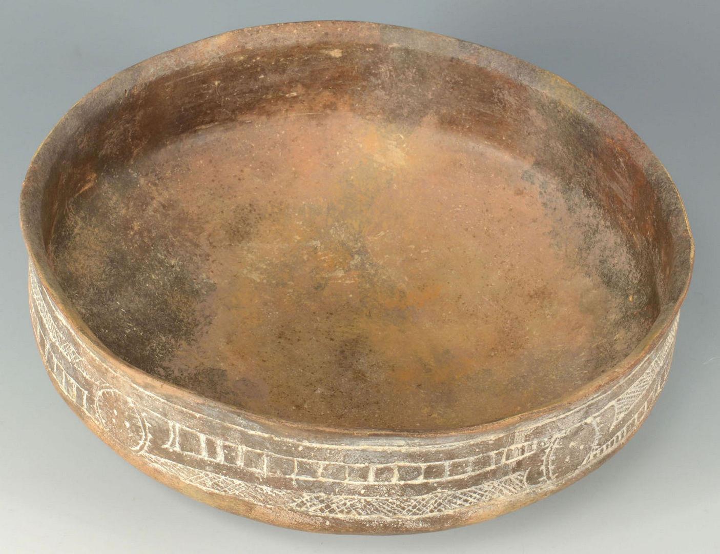 Lot 398: Caddo Bowl w/ Friendship Engraved Rim